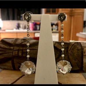 Tory Burch Faux Pearl Crystal Linear Earrings